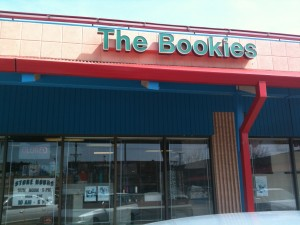 Don't let the ugly strip mall signage fool you-- The Bookies' interior is worth checking out. (photo by S.L. Alderton)
