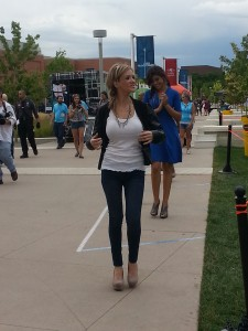 """Stephanie O.'s designs are modeled in between concert sets during the Center for Innovation's """"Own It"""" arts festival."""