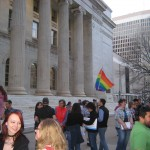 Supporters gather in front of Byron White Federal Courthouse to promote same-sex marriage. Photo by Angela Jackson
